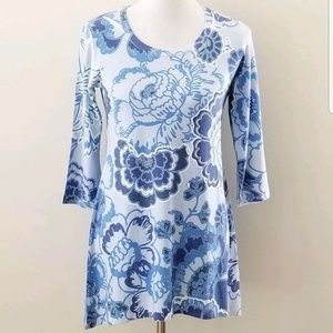 Soft Surroundings Small Tunic Blue Floral SOFT New